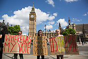Group of young protesters gather to protest that at 16 years old they were too young to vote in Westminster outside the Houses of Parliamant following a Leave vote, also known as Brexit as the EU Referendum in the UK votes to leave the European Union on June 24th 2016 in London, United Kingdom. Membership of the European Union has been a topic of debate in the UK since the country joined the EEC, or Common Market in 1973. It will be the second time the British electorate has been asked to vote on the issue of Britains membership: the first referendum being held in 1975, when continued membership was approved by 67% of voters. The two sides are the  Leave Campaign, commonly referred to as a Brexit, and those of the Remain Campaign who are also known as the In Campaign.