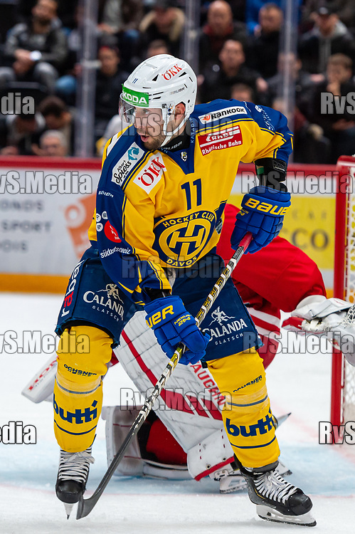 LAUSANNE, SWITZERLAND - NOVEMBER 05: #11 Aaron Palushaj of HC Davos in action during the Swiss National League game between Lausanne HC and HC Davos at Vaudoise Arena on November 5, 2019 in Lausanne, Switzerland. (Photo by Monika Majer/RvS.Media)