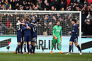 Christian Eriksen of Tottenham Hotspur (l) celebrates with his teammates after he scores his teams 3rd goal.The Emirates FA Cup, quarter-final match, Swansea city v Tottenham Hotspur at the Liberty Stadium in Swansea, South Wales on Saturday 17th March 2018.<br /> pic by  Andrew Orchard, Andrew Orchard sports photography.