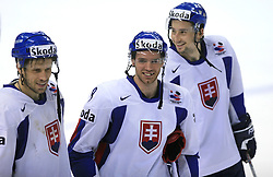 Team Slovakia (Andrej Kollar, Rene Vydareny of Slovakia, ?) celebrates victory after ice-hockey game Slovenia vs Slovakia at second game in  Relegation  Round (group G) of IIHF WC 2008 in Halifax, on May 10, 2008 in Metro Center, Halifax, Nova Scotia, Canada. Slovakia won after penalty shots 4:3.  (Photo by Vid Ponikvar / Sportal Images)