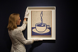 © licensed to London News Pictures. London, UK 21/06/2013. 'Cup of Coffee' by Roy Lichtenstein estimated to be sold for £1,500,000-2,000,000 in Christie's upcoming Post-War & Contemporary Art Evening Auction which will take place on June 25, 2013. Auction features with works by Basquiat, Doig, Liechtenstein and Warhol and total estimate is £56-72 million. Photo credit: Tolga Akmen/LNP