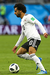 June 19, 2018 - Saint Petersburg, Russia - Mohamed Salah of the Egypt national football team vie for the ball during the 2018 FIFA World Cup match, first stage - Group A between Russia and Egypt at Saint Petersburg Stadium on June 19, 2018 in St. Petersburg, Russia. (Credit Image: © Igor Russak/NurPhoto via ZUMA Press)