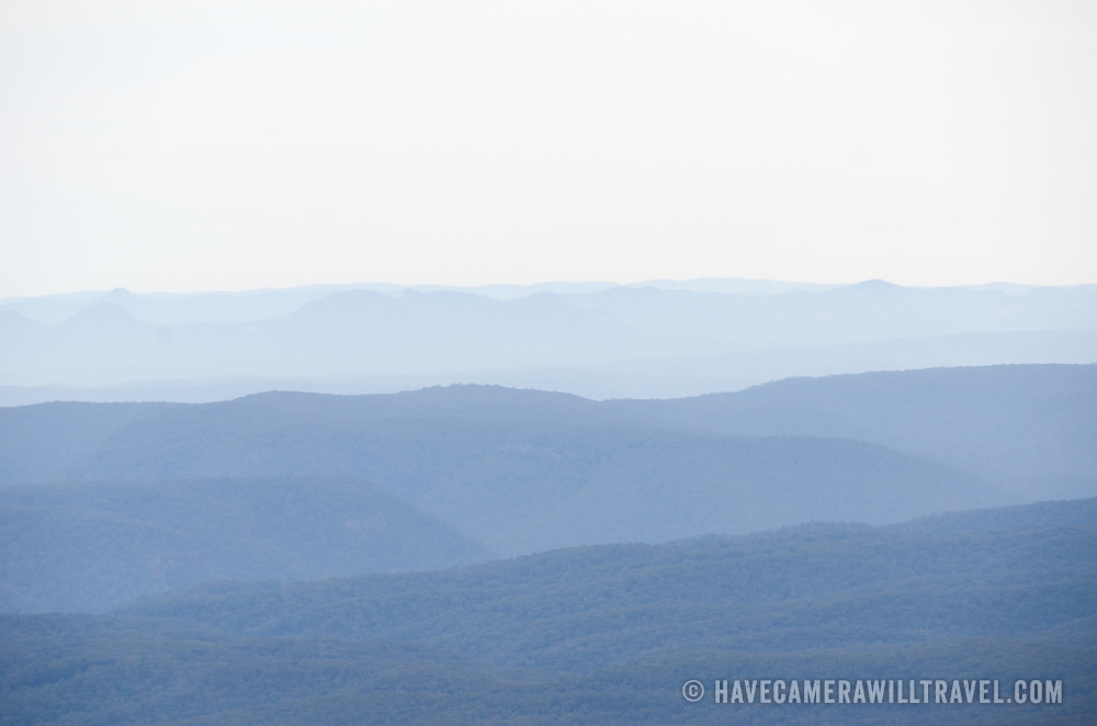 Waves of ridges in the Blue Mountains as seen from Echo Point in Katoomba, New South Wales, Australia.