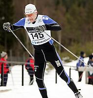 Langrenn , NM på ski  Nordiske grener 27 januar 2005 , Birkebeineren Skistadion  , 15 km fri teknikk menn<br /> <br /> Svein Tore Sinnes , Tonstad IL