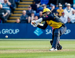 Dan Douthwaite of Glamorgan reaches for one<br /> <br /> Photographer Simon King/Replay Images<br /> <br /> Vitality Blast T20 - Round 1 - Glamorgan v Somerset - Thursday 18th July 2019 - Sophia Gardens - Cardiff<br /> <br /> World Copyright © Replay Images . All rights reserved. info@replayimages.co.uk - http://replayimages.co.uk