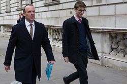 London, UK. 15th January, 2019. Dominic Raab MP, former Brexit Secretary, seen walking in Westminster after speaking at the launch of the 'A Better Deal' pamphlet at the British Academy with DUP Leader Arlene Foster, David Davis MP and Lord Lilley. The pamphlet sets out proposals for an alternative EU withdrawal agreement.