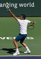 March 15, 2019 - Indian Wells, CA, U.S. - INDIAN WELLS, CA - MARCH 15: Roger Federer (SUI) serving in a quarterfinals match played during the BNP Paribas Open on March 15, 2019 at the Indian Wells Tennis Garden in Indian Wells, CA. (Photo by John Cordes/Icon Sportswire) (Credit Image: © John Cordes/Icon SMI via ZUMA Press)