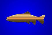 Digitally enhanced image humourus Gold Fish on blue background