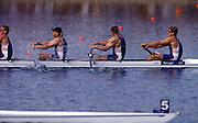2000 Sydney Olympic Games - Sydney. NSW. Australia.Olympic Regatta - Penrith Lakes..23.09.2000. Finals day2002 Sydney Olympic Games - Sydney. NSW. Australia.Olympic Regatta - Penrith Lakes..23.09.2000. Finals day.GBR M4- Stroke Matt Pinsent, 2 Tim Foster, 3 Steve Redgrave and James Cracknell. final strokes of the Olympic final..Lane 5 ITA M4-  Stroke V MOLEA; 2. R DEI ROSSI;  3. L CARBONCINI;Bow C MORNATI.Lane 4 AUS M4- Stroke J STEWART; 2. G STEWART; 3. .B DODWELL; Bow. B HANSON 2000 Olympic Regatta Sydney International Regatta Centre (SIRC) 2000 Olympic Rowing Regatta00085138.tif