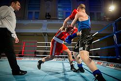 Simone Mattia Brusa of Italy (BLUE) fights against Aljaž Venko of Slovenia (RED) in Elite 75 kg Category during Dejan Zavec Boxing Gala event in Ljubljana, on March 11, 2017 in Grand Hotel Union, Ljubljana, Slovenia. Photo by Vid Ponikvar / Sportida