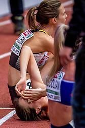 05-03-2017  SRB: European Athletics Championships indoor day 3, Belgrade<br /> De 24-jarige Nederlandse Maureen Koster leek in de finale lange tijd op weg naar brons, maar moest in de laatste ronde de Britse Eilish McColgan voorrang verlenen. Koster finishte als vierde.