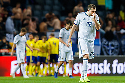November 20, 2018 - Stockholm, SVERIGE - 181120 Artem Dzyuba of Russia looks dejected after 2-0 during the Nations League football match between Sweden and Russia on November 20, 2018 in Stockholm. (Credit Image: © Andreas L Eriksson/Bildbyran via ZUMA Press)