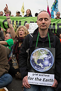 Climate Change activists with Extinction Rebellion campaign for a better future for planet Earth after blocking Waterloo Bridge and as part of a multi-location 5-day Easter protest around the capital, on 16th April 2019, in London, England.