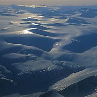 Mountains and glaciers stretch across Ellesmere Island, north of Eureka in Canada's Nunavut territory.