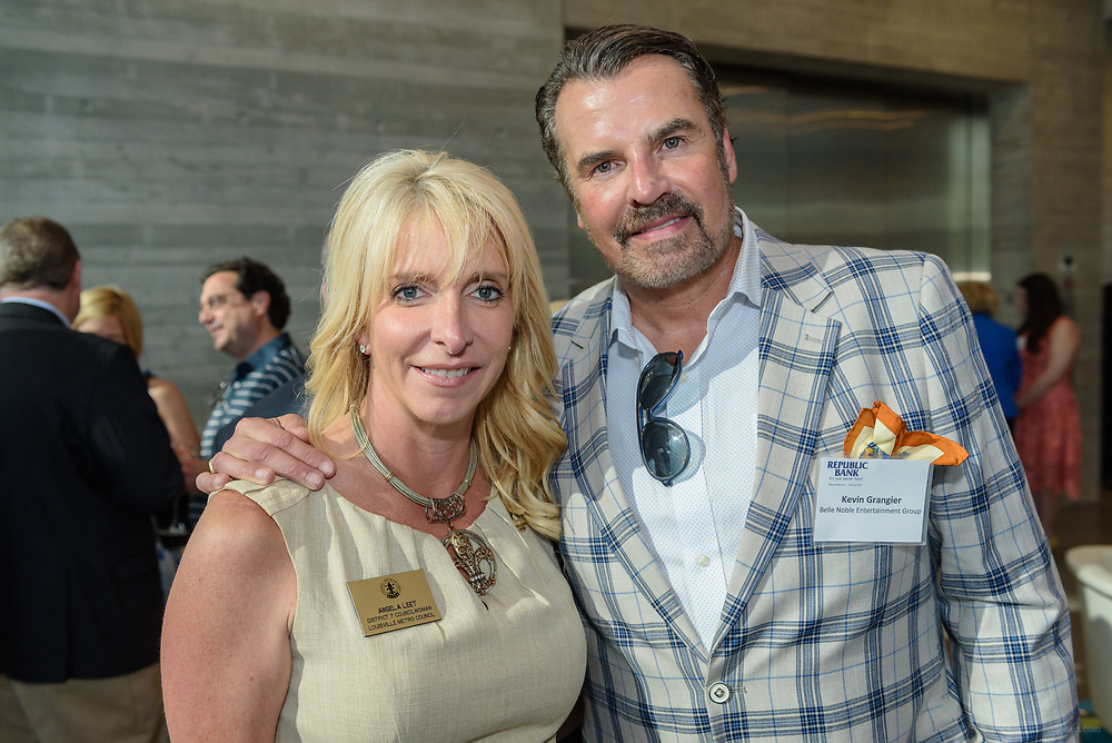District 7 Councilwoman Angela Leet and Kevin Grangier at the 10-year anniversary celebration of Republic Bank's Private Banking and Business Banking divisions Wednesday, May 17, 2017, at the Speed Art Museum in Louisville, Ky. (Photo by Brian Bohannon)
