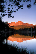 Sunset light on Chaos Crags reflected in Reflection Lake, Lassen Volcanic National Park, Shasta County, California