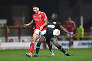 Marc Richards (17) of Swindon Town battles for possession with Jordan Green (15) of Yeovil Town during the EFL Sky Bet League 2 match between Swindon Town and Yeovil Town at the County Ground, Swindon, England on 10 April 2018. Picture by Graham Hunt.