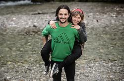 Gaj Trcek and his girlfriend posing next to a river Kokra, on October 8, 2021 in Kranj, Slovenija. Photo by Vid Ponikvar / Sportida