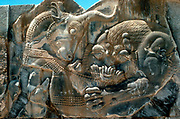 Bull and lion: Detail of carving on N wing of E stairway at palace of Persian king Xerxes I (486-465 BC) at Persepolis.