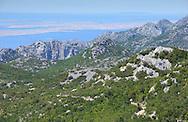 View over the Adriatic sea, Paklenica National Park, Velebit Nature Park, Dalmatian coast, Croatia