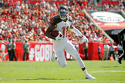 October 21, 2018 - Tampa, FL, U.S. - TAMPA, FL - OCT 21: DeSean Jackson (11) of the Bucs takes a hand off from Bucs quarterback Jameis Winston and runs the ball into the end zone for the score during the regular season game between the Cleveland Browns and the Tampa Bay Buccaneers on October 21, 2018 at Raymond James Stadium in Tampa, Florida. (Photo by Cliff Welch/Icon Sportswire) (Credit Image: © Cliff Welch/Icon SMI via ZUMA Press)