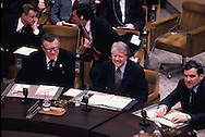 President Carter at a meeting of NATO in Brussels Belgium on January 6, 1978<br /> Photo by Dennis Brack