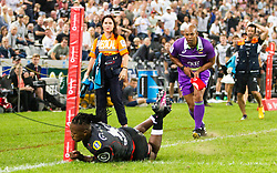 DURBAN, SOUTH AFRICA - APRIL 21: S'Busiso Nkosi of the Cell C Sharks during the Super Rugby match between Cell C Sharks and DHL Stormers at Jonsson Kings Park on April 21, 2018 in Durban, South Africa. Picture Leon Lestrade/African News Agency/ANA