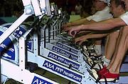 2004_British_Indoor_Rowing_Championships.NIA. Birmingham.England. 21.11.2004.GV's Concept 2 rowing machine slow shutter.[Mandatory Credit Peter Spurrier/ Intersport Images]