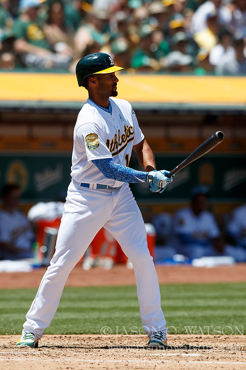 OAKLAND, CA - JUNE 17: Marcus Semien #10 of the Oakland Athletics at bat against the Los Angeles Angels of Anaheim during the third inning at the Oakland Coliseum on June 17, 2018 in Oakland, California. The Oakland Athletics defeated the Los Angeles Angels of Anaheim 6-5 in 11 innings. (Photo by Jason O. Watson/Getty Images) *** Local Caption *** Marcus Semien