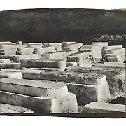 The traditional Jewish cemetery of Marrakesh, Morocco is filled with tombs painted with white paint.