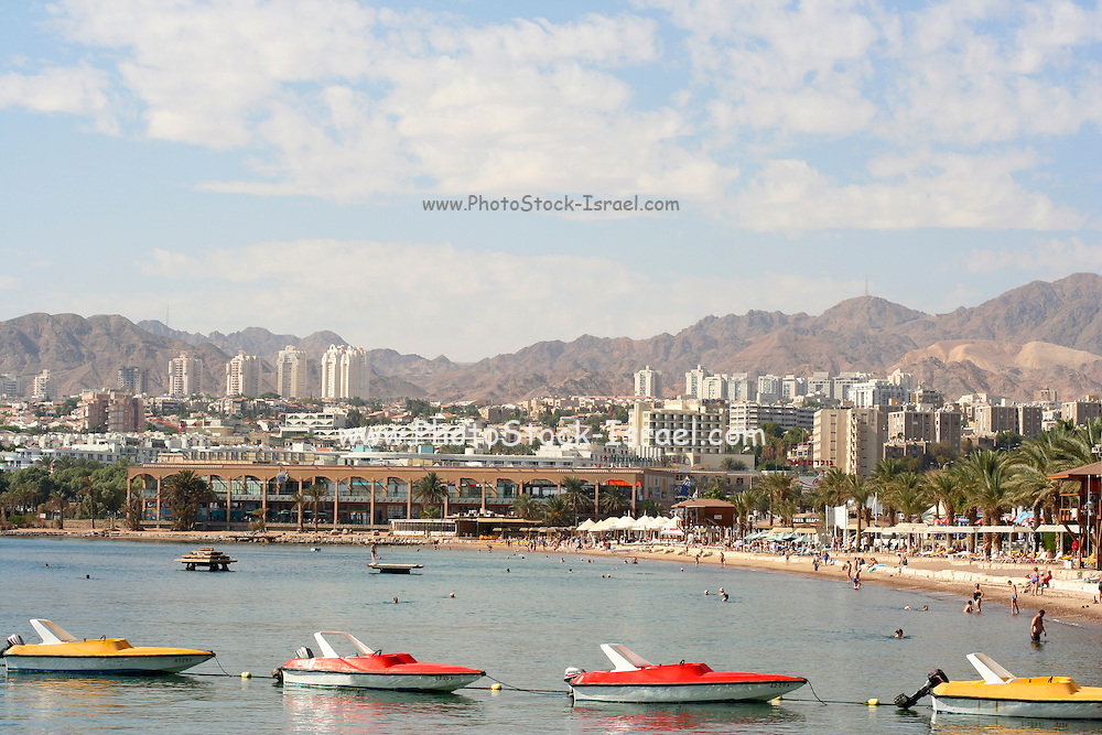Israel, Eilat, view of the bay and the city resort hotels and apartments in the background