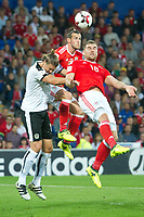 Football - 2017 / 2018 _Wales v Austria_FIFA World Cup Qualifier 2018<br /> <br /> Gareth Bale of Wales & Sam Vokes of Wales go up to head the ball--- at Cardiff City Stadium.<br /> <br /> COLORSPORT/WINSTON BYNORTH