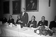Opening of Kilkenny Design Workshop. Dr. P.J. Hillery, Minister for Industry and Commerce, speaking at the luncheon.<br /> 15.11.1965