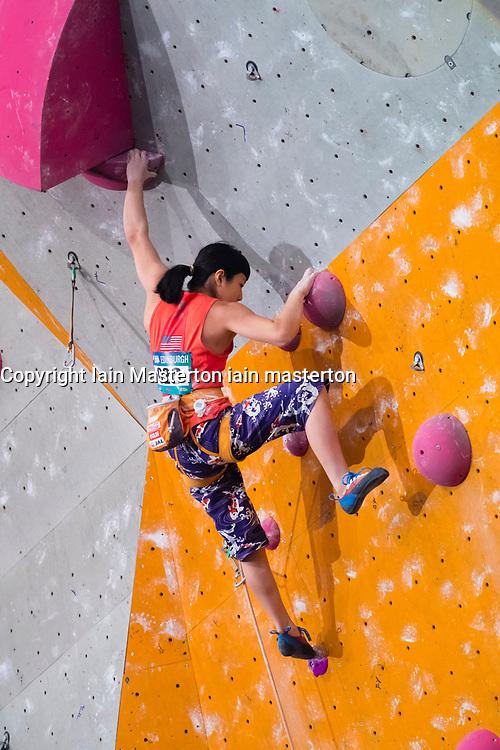 Ashima Shiraishi of the USA climbs in the lead women's semi-finals  at the International Federation of Sport Climbing (IFSC) World Cup 2017 at Edinburgh International Climbing Arena, Scotland, United Kingdom.