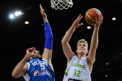 Ioannis Bourousis of Greece vs Zoran Dragic of Slovenia during friendly match between National Teams of Slovenia and Greece before World Championship Spain 2014 on August 17, 2014 in Kaunas, Lithuania. Photo by Robertas Dackus / Sportida.com