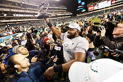 Philadelphia Eagles defensive tackle Fletcher Cox #91 celebrates after winning the NFL NFC Championship game between The Minnesota Vikings and The Philadelphia Eagles at Lincoln Financial Field in Philadelphia on Sunday, January 21st 2018. (Brian Garfinkel/Philadelphia Eagles)