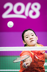 Singapore's Jia Ying Wong competes during the Women's Doubles Badminton at the Carrara Sports Arena during day seven of the 2018 Commonwealth Games in the Gold Coast, Australia.