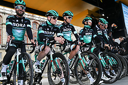 March 10, 2019 - Paris, Ile-de-France, France - Bora Hansgrohe cycling team poses during the team's presentation at the start of the 138,5km 1st stage of the 77th Paris-Nice cycling race between Saint-Germain-en-Laye and Saint-Germain-en-Laye in the west suburb of Paris, France, on March 10, 2019. Whether leaders of a team or merely a team-mate, the riders on the Paris-Nice try to excel, either individually or as a team. According to the stage profiles, changes in the general standings or some unexpected circumstance during the race, each rider adapts his objectives to the situation. (Credit Image: © Michel Stoupak/NurPhoto via ZUMA Press)