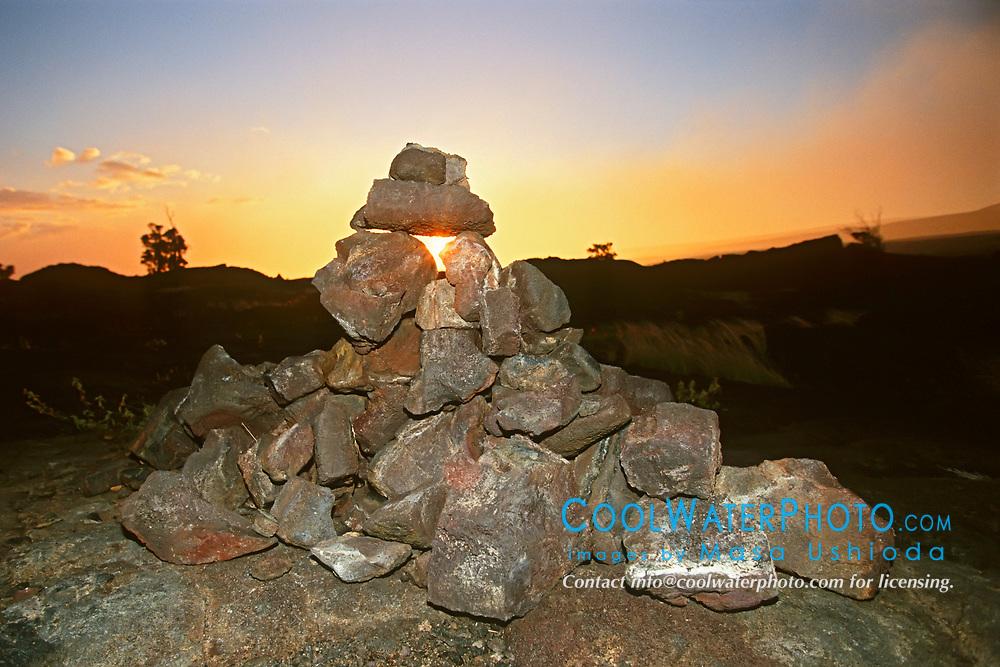 Lava stone monument at Pu`u or Puu Loa Petrogryph Trail, Hawaii, USA Volcanoes National Park, Kilauea, Big Island, Hawaii, USA