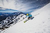 Caroline Gleich skiing the eastface of Box Elder Peak, Wasatch Mountains, Utah.
