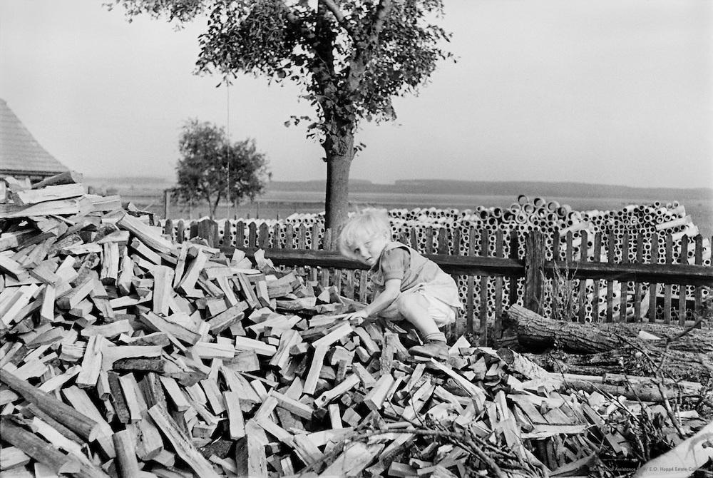 Child on wood pile. Mecklenburg, Germany, 1937
