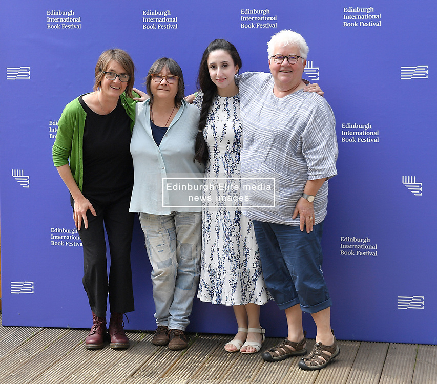 Pictured: Karine Polwart, Ali Smith, Nayrouz Qarmout and Val McDermid.<br /> <br /> Palestinian author Nayrouz Qarmout appears at the 2019 Edinburgh International Book Festival with best selling Scottish crime writer Val McDermid, Scottish singer-songwriter Karine Polwarth and writer Ali Smith.<br /> <br /> Nayrouz Qarmout is a Palestinian writer and activist. Born in Damascus in 1984, as a Palestinian refugee, she returned to the Gaza Strip, as part of the 1994 Israeli-Palestinian Peace Agreement, where she now lives. She graduated from al-Azhar University in Gaza with a degree in Economics. She currently works in the Ministry of Women's Affairs, raising awareness of gender issues and promoting the political and economic role of women in policy and law, as well as the defence of women from abuse, and highlighting the role of women's issues in the media. Her political, social and literary articles have appeared in numerous newspapers and magazines, and online. She has also written screenplays for several short films dealing with women's rights. She is a social activist and a member of several youth initiatives, campaigning for social change in Palestine.<br /> <br /> Born in Inverness, Ali Smith's first published book was Free Love and Other Stories (1995), which won the Saltire First Book of the Year Award. From this successful debut, her career continued to climb – her 2001 novel Hotel World, for instance, has received much critical acclaim, and was shortlisted for the Booker Prize for Fiction. Hotel World was adapted for the stage and performed at the Edinburgh Festival Fringe in 2007. Smith recently returned to short stories with The First Person and Other Stories (2008), an emotional and funny exploration of storytelling. 'She's a genius', said Alain de Botton of Smith; 'genuinely modern in the heroic, glorious sense'.<br /> <br /> © Dave Johnston / EEm