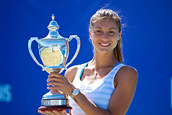 LIVERPOOL, ENGLAND - Sunday, June 24, 2018: Corinna Dentoni (ITA) with the Ladies' singles trophy during day four of the Williams BMW Liverpool International Tennis Tournament 2018 at Aigburth Cricket Club. (Pic by Paul Greenwood/Propaganda)