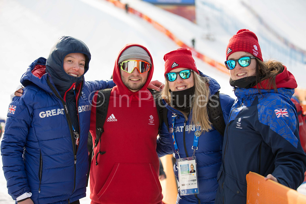 Izzy Atkin, Rowan Coultas, Katie Summerhayes and Molly Summerhayes , Great Britain, during the mens skiing halfpipe Qualification at the Pyeongchang 2018 Winter Olympics on February 20th 2018, at the Phoenix Snow Park in Pyeongchang-gun, South Korea.