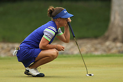 May 26, 2018 - Ann Arbor, Michigan, United States - Dani Holmqvist of Sweden lines up her putt on the fouth green during the third round of the LPGA Volvik Championship at Travis Pointe Country Club, Ann Arbor, MI, USA Saturday, May 26, 2018. (Credit Image: © Amy Lemus/NurPhoto via ZUMA Press)