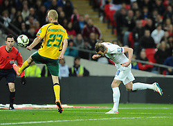 Harry Kane of England (Tottenham Hotspur) scores with a header  - Photo mandatory by-line: Joe Meredith/JMP - Mobile: 07966 386802 - 27/03/2015 - SPORT - Football - London - Wembley Stadium - England v Lithuania - UEFA EURO 2016 Qualifier