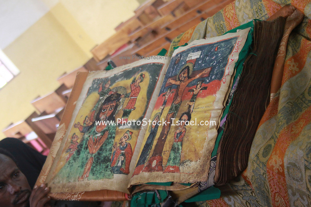 Africa, Ethiopia, Axum, The Church of Our Lady Mary of Zion said to houses the Biblical Ark of the Covenant 100 year old Manuscript known as 'The Miracle of St Mary'