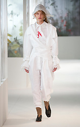 A model on the catwalk during the Preen by Thornton Bregazzi London Fashion Week SS18 show held at QEII Centre, London.