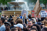 Black Lives Matter Protestors in Trafalgar Square after their march through london june 20th 2020  Photo by Mark Anton Smith
