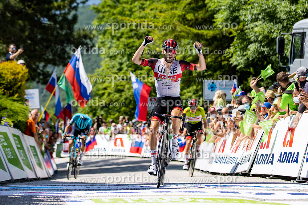 Matteo SOBRERO of ASTANA - PREMIER TECH, the rejoicing of Diego ULISSI of UAE TEAM EMIRATES and Tadej POGACAR of UAE TEAM EMIRATES during the 4th Stage of 27th Tour of Slovenia 2021 cycling race between Ajdovscina and Nova Gorica (164,1 km), on June 12, 2021 in Slovenia. Photo by Matic Klansek Velej / Sportida